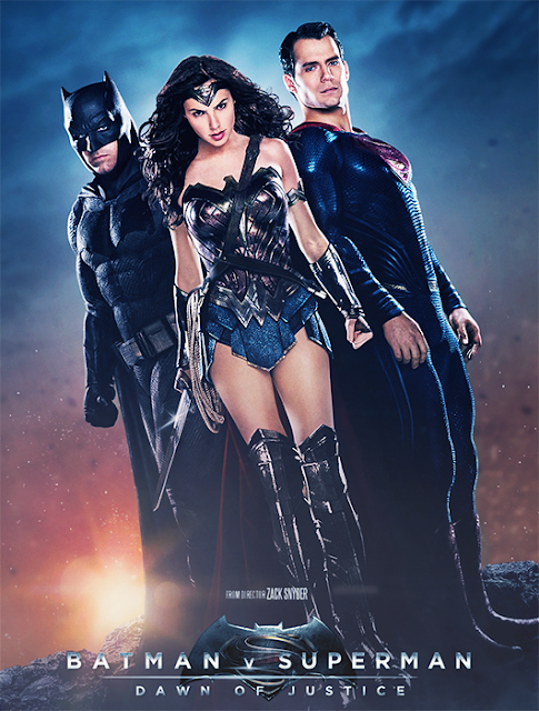 Ben Affleck (Batman), Gal Gadot (Wonder Woman) și Henry Cavill (Superman) în Batman V Superman: Dawn Of Justice