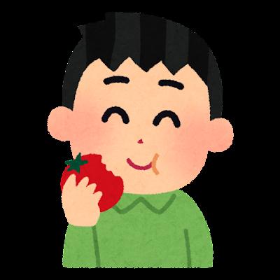 トマトを丸かじりする人のイラスト