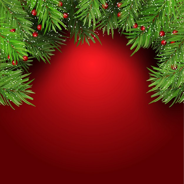 Christmas decoration, red background Free Vector