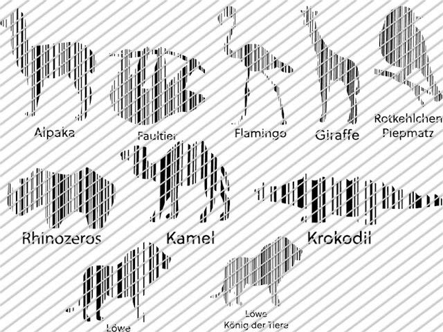 Übersicht über die Plottervorlagen im Set Barcode Animals 1 von Lalillyherzileien