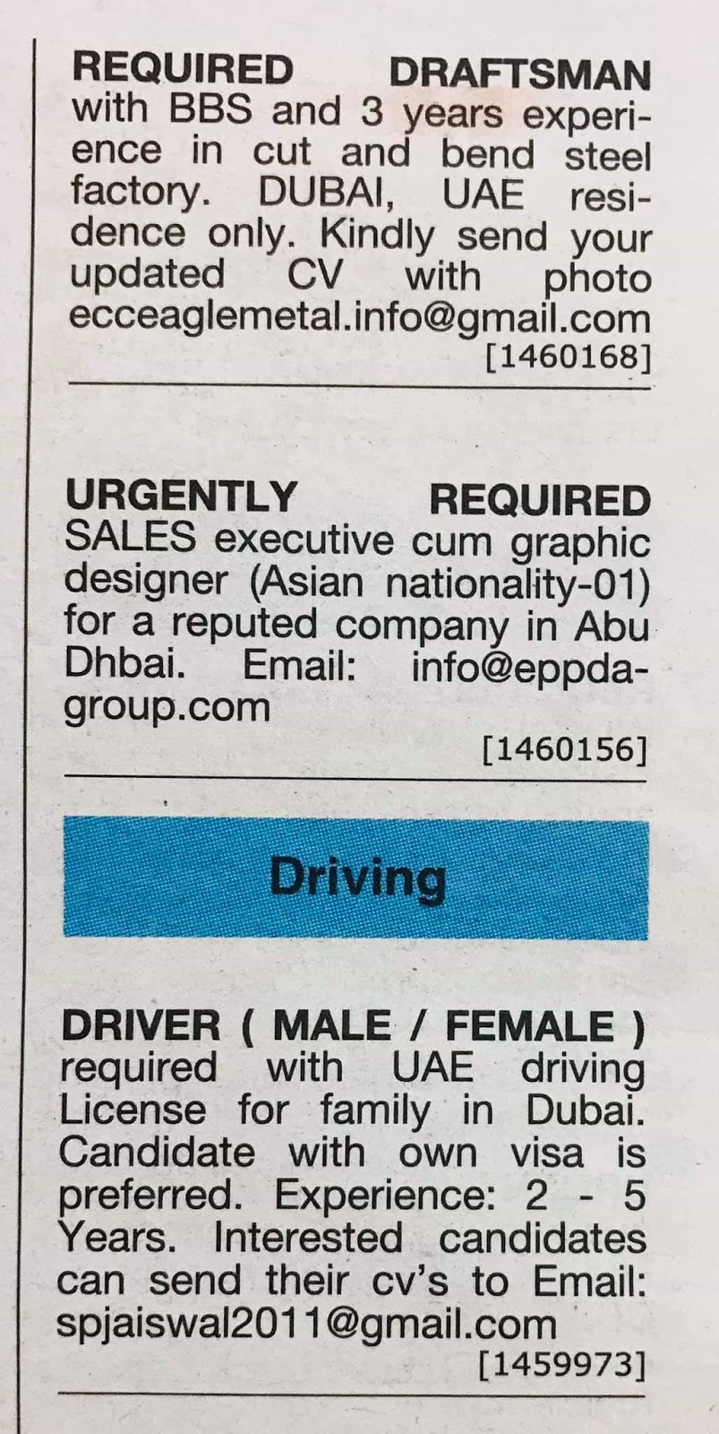 Required Draftsman, Sales Executive & Driver Male/Female for UAE