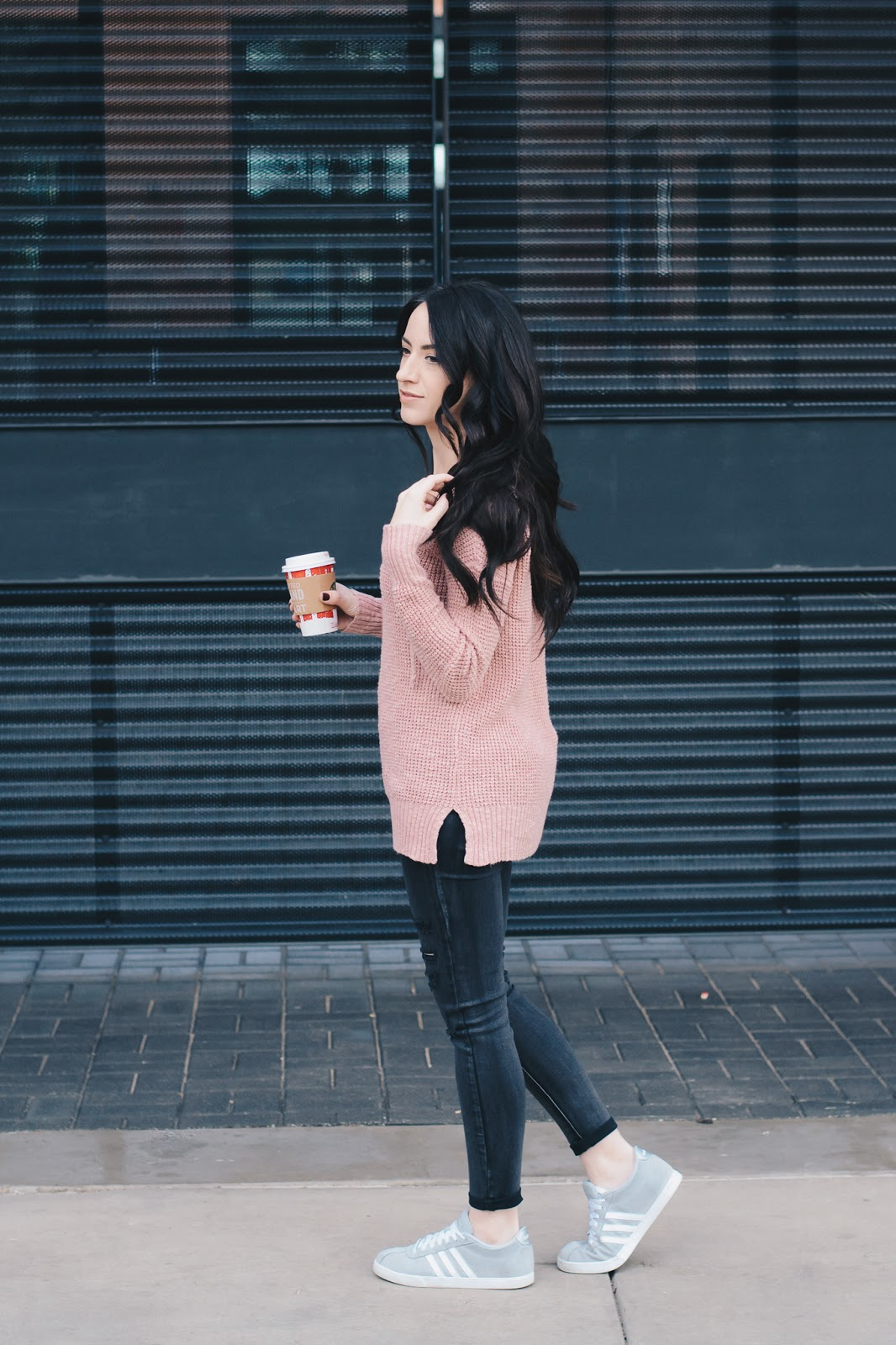 Lace Up Knit Sweater and Sneakers