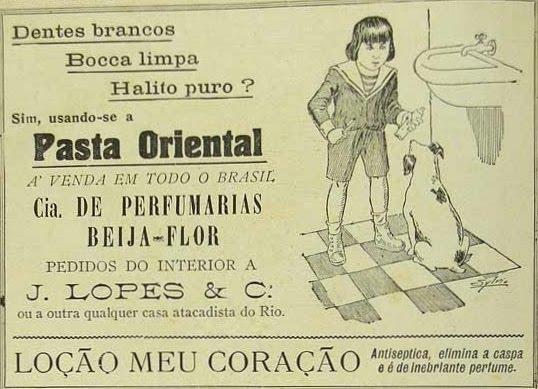 Propaganda antiga do começo dos anos 20 promovendo a Pasta Oriental (creme dental)