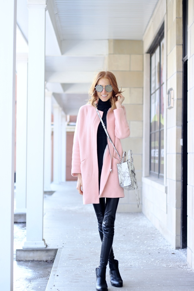 Pastels & Pastries Winter Style- Le Specs Hey Yeh, Pink winter coat, Marble print bag, beaded tassle earrings, Cougar Boots