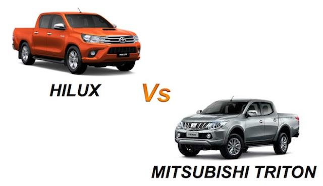 hilux so sanh voi doi thu mitsubishi trion 01 -  - So sánh Toyota Hilux và Mitsubishi Triton 2016 : Cạnh tranh mạnh mẽ trong phân khúc xe bán tải