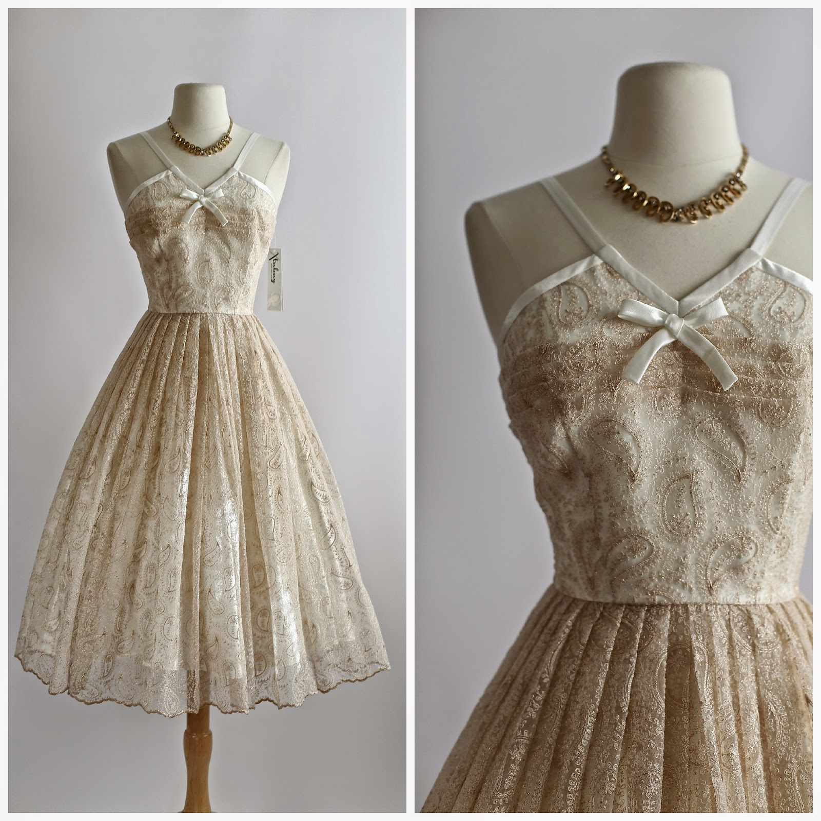 Vintage Wedding Dresses Portland Oregon: 1950's Style Rose Gold Embroidered Wedding Or Reception