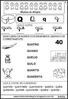 Livro famílias silábicas letra Q