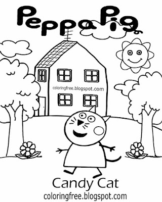Kindergarten drawing easy designs Candy Cat Peppa printable pig images clear-cut coloring pictures