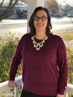 Stitch Fix - 41 Hawthorn Rowan Textured Pullover & Charming Charlie necklace