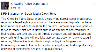 KPD knoxville clown sightings