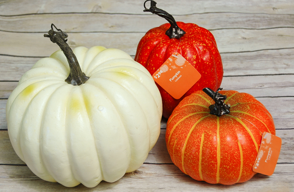 Inexpensive faux pumpkins