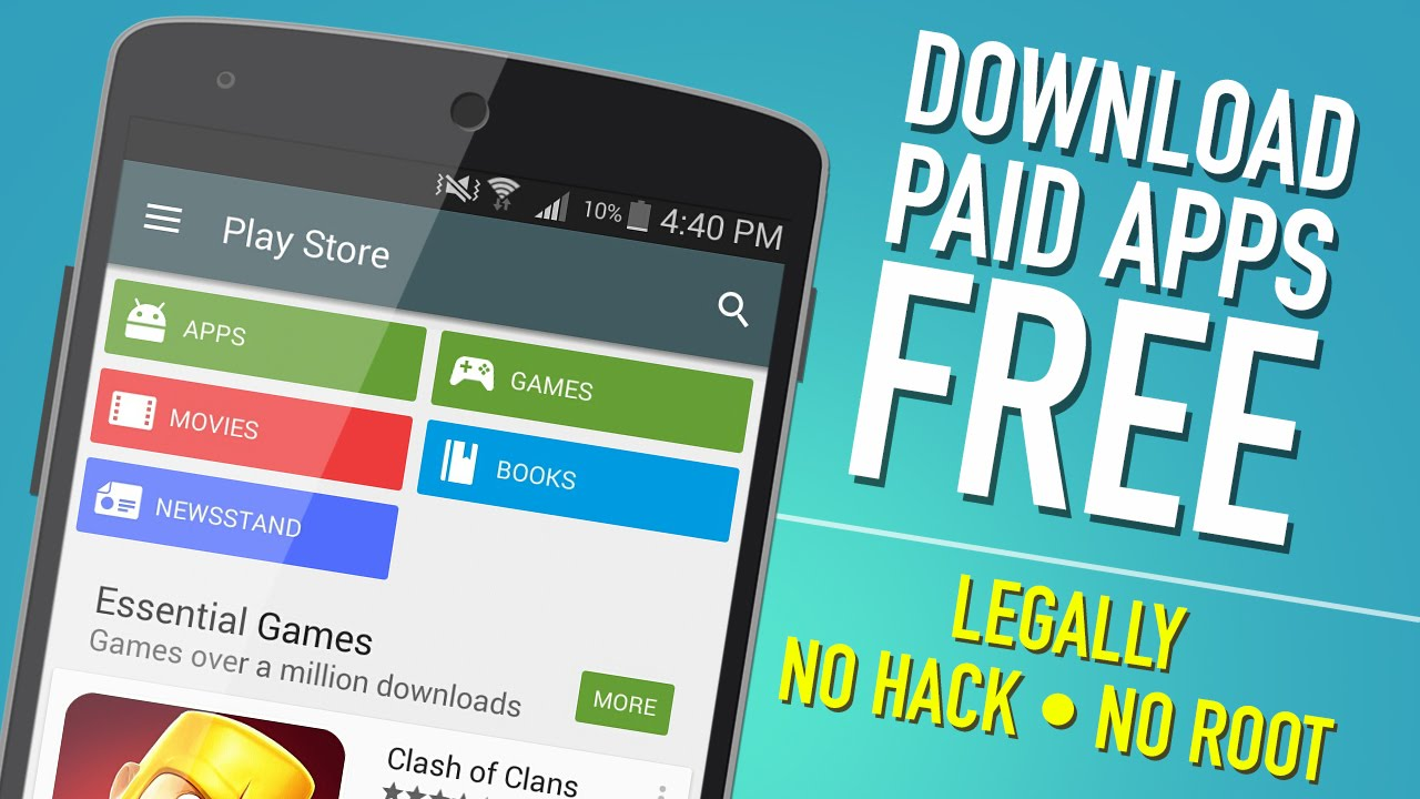 Purchase paid apps,movies,books from google playstore for free.