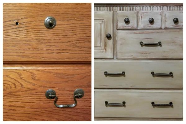 Weathered Wood Makeover On Oak Dressers, Oak Furniture Drawer Handles