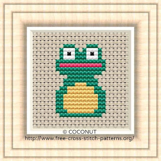 Frog, Free and easy printable cross stitch pattern