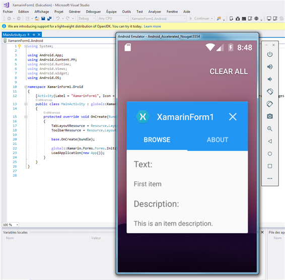 Ma première application avec Xamarin - Windows 7 - Visual Studio 2017 15.8.1
