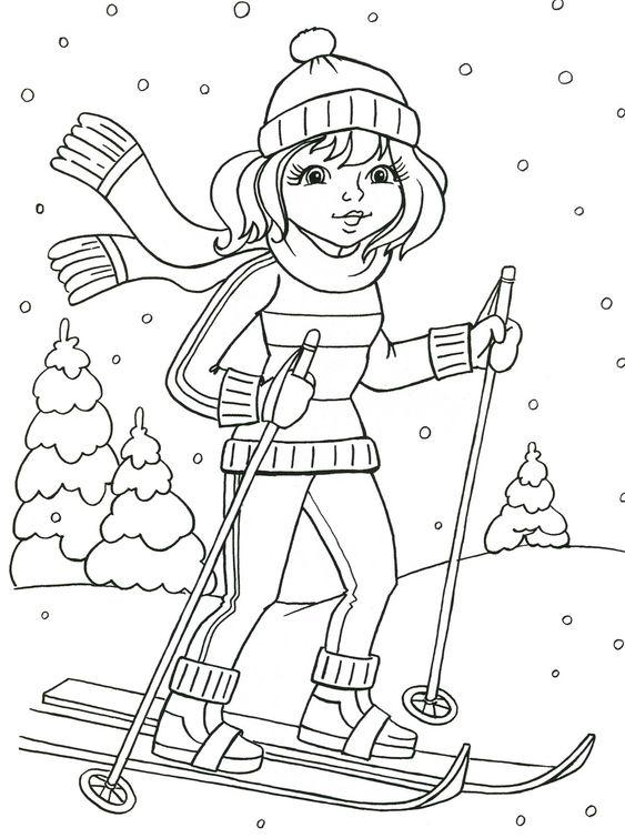 Tranh tô màu bé gái trượt tuyết
