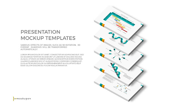 Free PowerPoint Template with 3D 5 Layered  Screen Mockups to the right