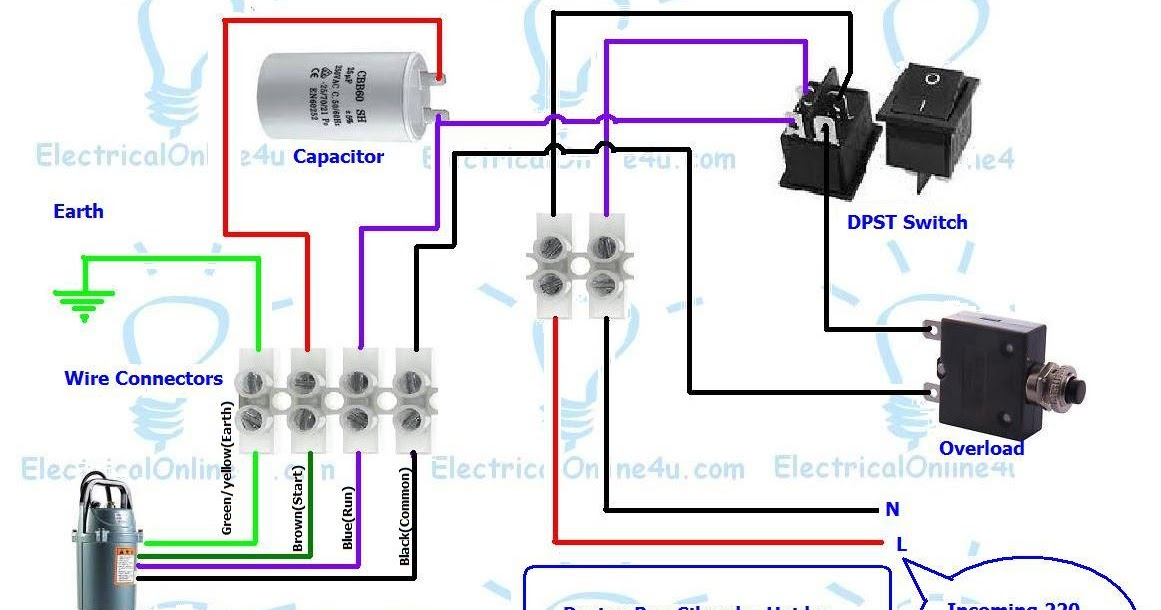 submersible pump control box wiring diagram for 3 wire single phase rh electricalonline4u com wiring a submersible well pump control box water pump control box wiring diagram