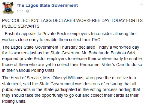 Lagos State Govt Declares 6th Feb Work Free