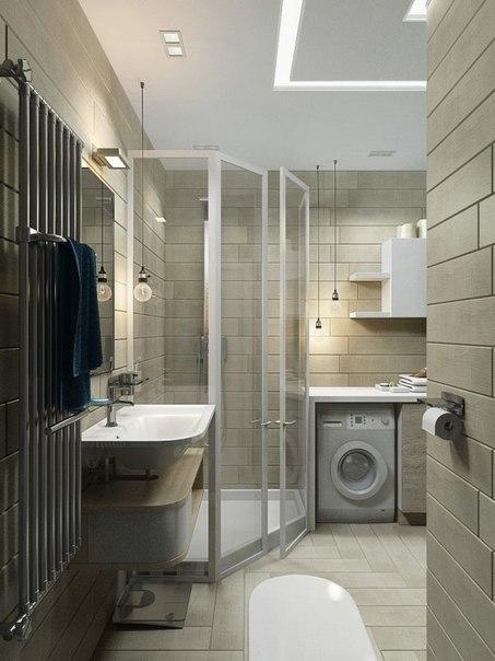 ванная комната с душем в квартире студии
