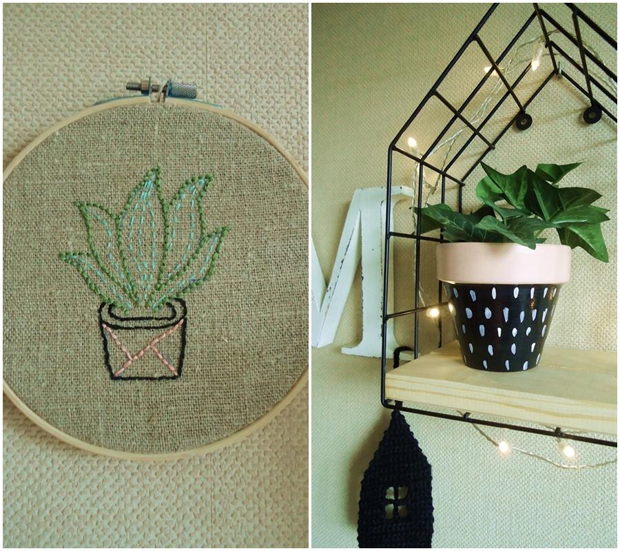 obrazek na szarym płótnie, kaktus, sukulent, dekoracja