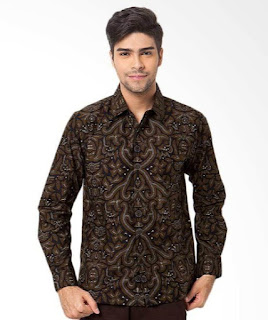 Model baju batik pria terbaru lengan panjang modis