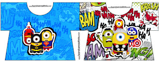 Tarjeta con forma de camisa de Minions Super Héroes.