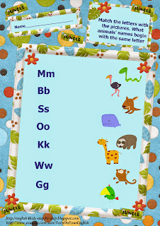 wild animals action verbs matching letters and pictures worksheet