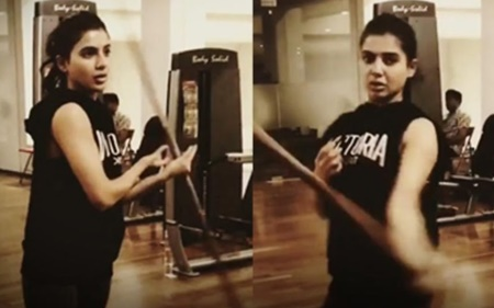 Actress Samantha work out in gym