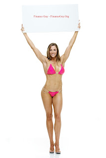 Sexy bikini woman sells sign