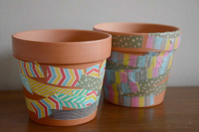 Easy toddler & preschool craft: washi tape flower pots from And Next Comes L