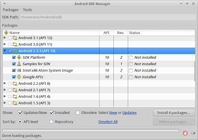 Install Android 2.3.3 (API 10) in Android SDK Manager