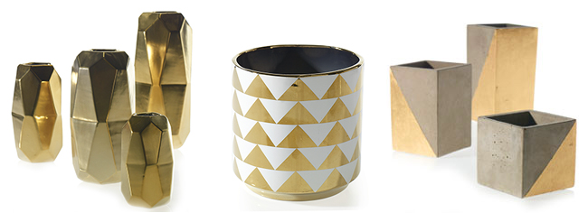 gold and geometric vases - modern wholesale vases from Accent Decor