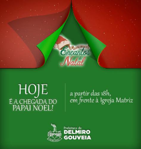 Eventos natalinos se iniciam nesta quinta-feira em Delmiro Gouveia, com a chegada do Papai Noel