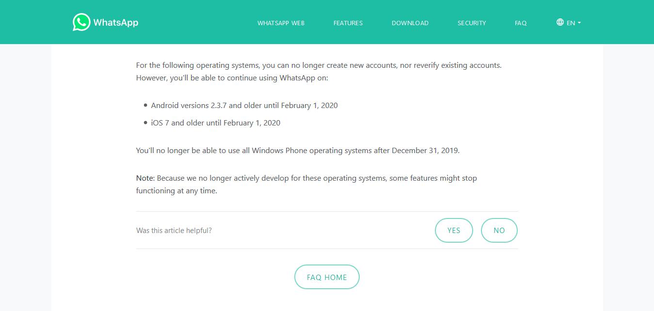 Pernyataan pemberhentian dukungan WhatsApp di halaman FAQ website resminya