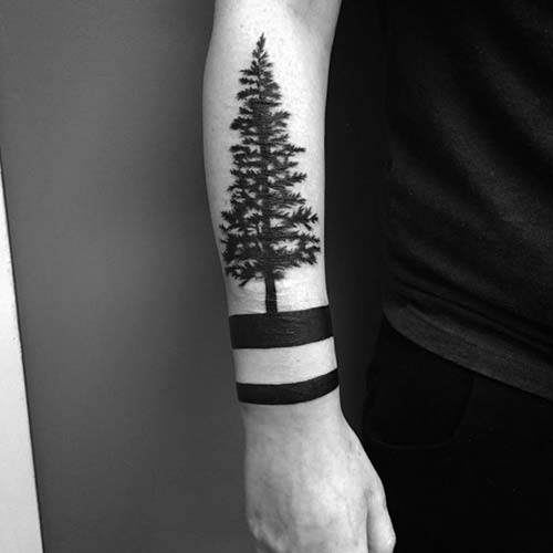 armband tattoo with tree ağaçlı kol bandı dövmesi