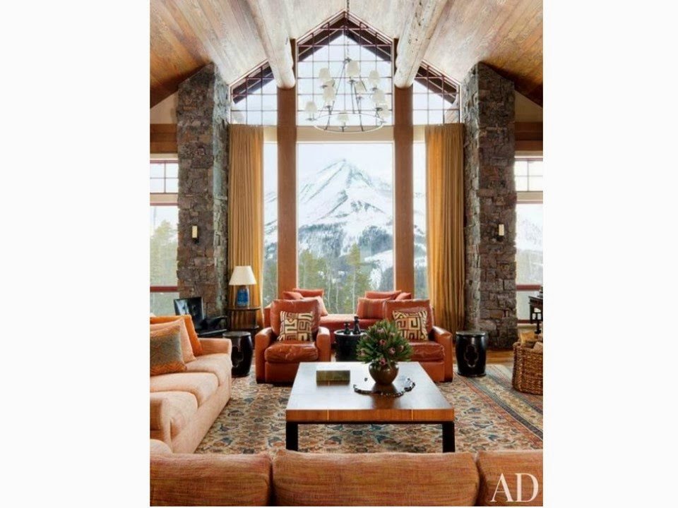 Earth-toned interior from Architectural Digest, with a lot of wood details.