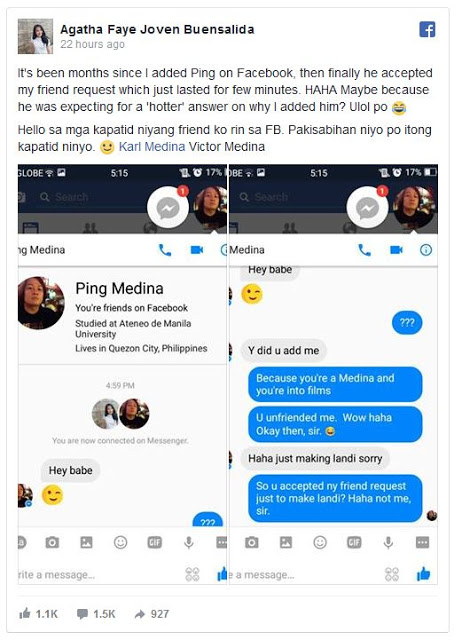 READ ►This Girl Added Ping Medina on Facebook. What He Told Her After Accepting Her Friend Request Will Shock You!