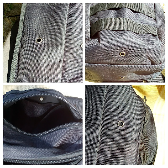 GearBest Crossbody Sling Bag - A four picture collage of the ventilation outlet hole in the large and mid compartment.