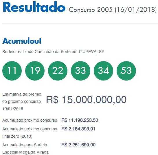 Mega Sena 2005 - Resultado de 17-01-2018