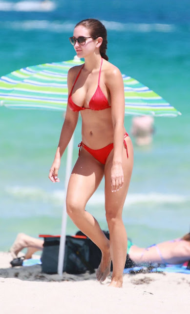 Jaclyn Swedberg – Red Bikini Candids in Miami