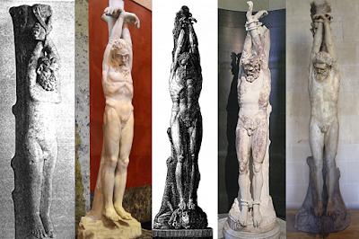 Статуи, изображающие казнь через подвешивание к «столбу мучение»