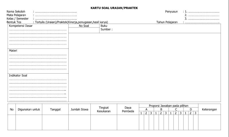 Contoh Bentuk Kartu Soal Uraian Praktek - Lembar 1 dalam Administrasi Guru Sekolah Format Ms. Word (doc/docx)