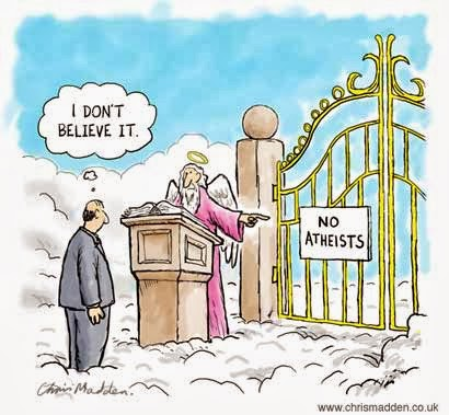 Funny Heaven Cartoon Joke Picture - No atheists at pearly gates - I don't believe it - Image