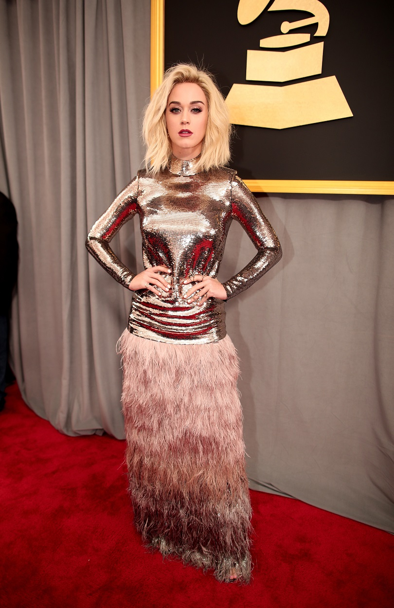 Katy Perry dazzles in a Tom Ford creation at the 2017 Grammy Awards