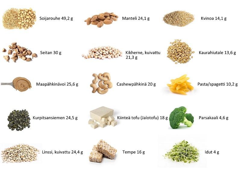 Vegaaniset proteiinin lähteet, palkokasvit, pähkinät, siemenet