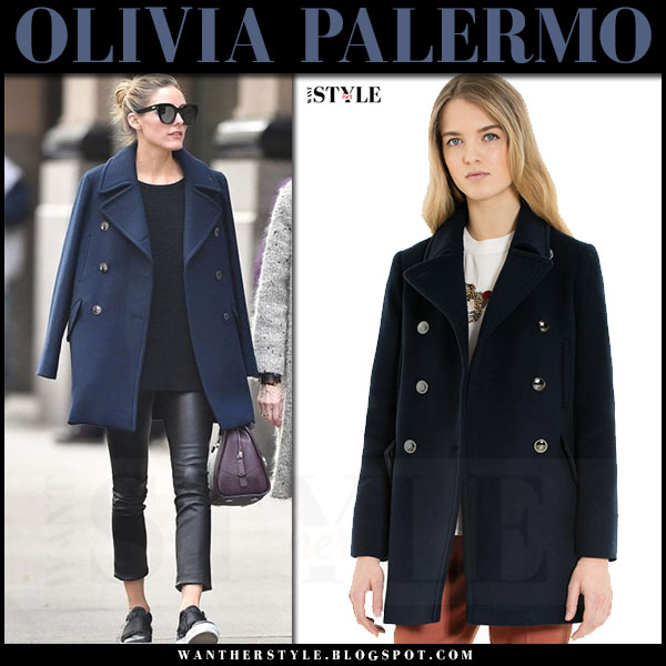 Olivia Palermo in dark blue navy pea coat max and co dispensa and black leather pants j brand edita what she wore streetstyle