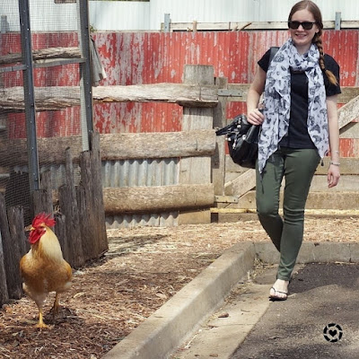 awayfromblue instagram | chasing rooster in Fashion Scarf Girl bird and egg print scarf olive skinny jeans black tee