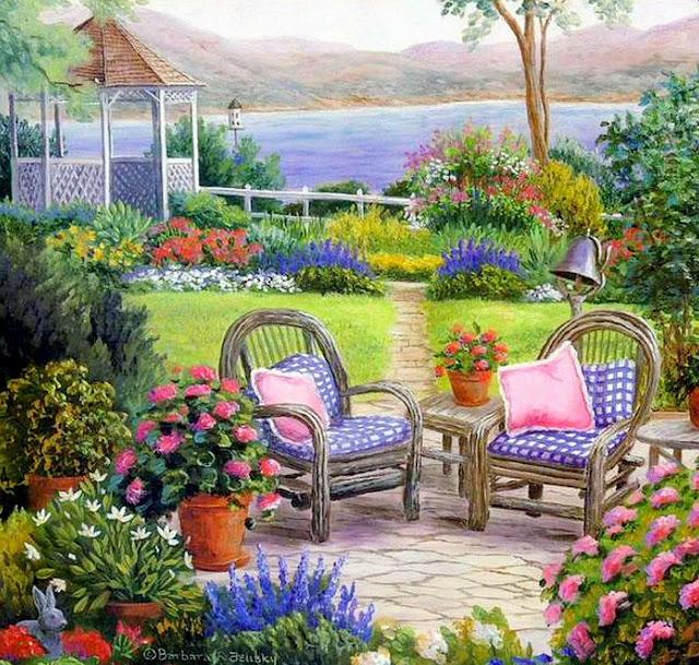 Cuadros modernos pinturas y dibujos cuadros de casas con - Paisajes y jardines ...