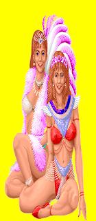 Super Pinball Action. La imagen muestra dos bellas bailarinas ligeritas de ropa